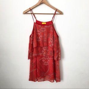 Dee Elle Coral Printed Sleeveless Dress